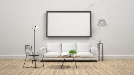 mock up poster frame in interior background,3D render