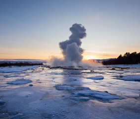 Eruption of famous Strokkur geyser in Iceland.