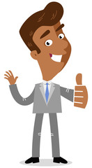 Vector illustration of a smiling asian cartoon business man in three-quarter profile giving the thumbs up isolated on white background