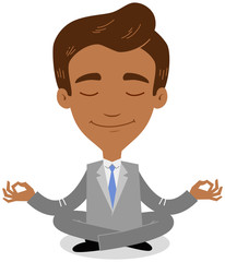 Vector illustration of an asian cartoon businessman doing yoga sitting in lotus position isolated on white background