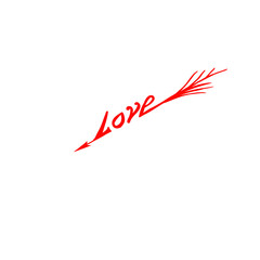 Love Word Arrow Isolated on White Background for Valentines Day Greeting Card