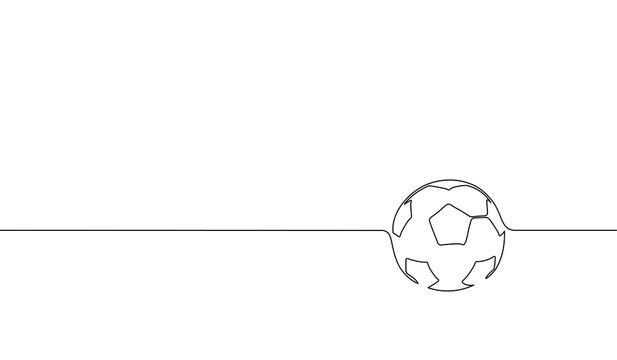 Single continuous line art football ball silhouette. Championship final play game sport competition design one sketch outline drawing vector illustration