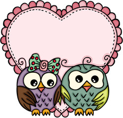 Owl couple in love with big heart