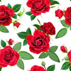 Seamless pattern from red roses on a white background, photorealistic collage.
