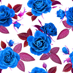 Seamless pattern from blue roses on a white background, photorealistic collage.