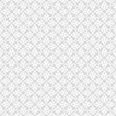 Flower geometric pattern. Seamless vector background. White and grey ornament