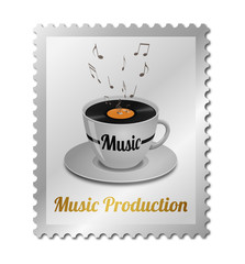 Concept music production on postage stamp