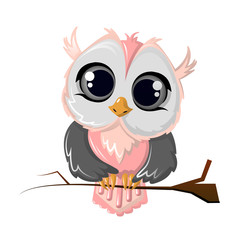 Beautiful funny cartoon owl bird sitting on a tree branch.