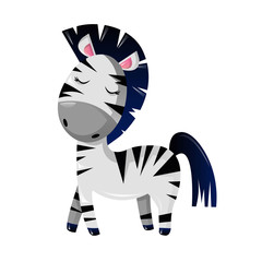 Funny striped African cartoon zebra. Modern wild animals from zoo.