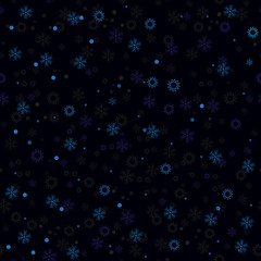 Seamless pattern made of low contrast dots and stars on dark blue background.