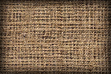 Natural Brown Burlap Canvas Coarse Vignetted Grunge Background Texture