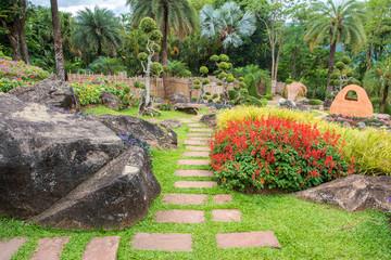 rock and stone pathway gardening in beautiful garden