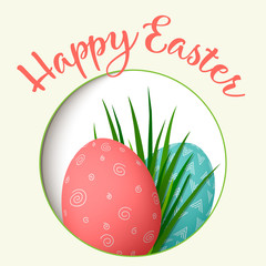 Happy Easter. Easter red and green eggs with abstract simple ornaments in round photo frame. vector illustration