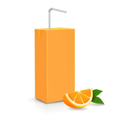 Fresh ripe orange and Juice carton package with tube. Vector illustration