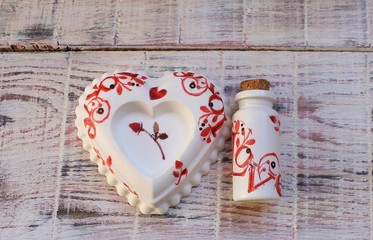 Handmade fragrance heart and bottle for St. Valentine's Day