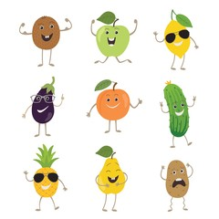 Funny fruits and vegetables with hands kicking eyes and emotions set