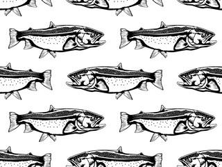 Salmon fish pattern white
