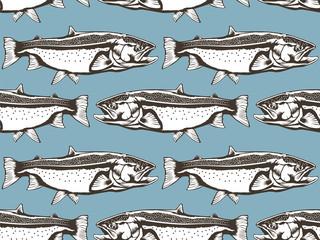 Salmon fish pattern blue