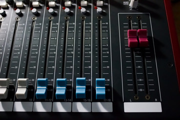 Console of the professional mixer - music, concert