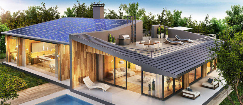 Big country house with solar panels