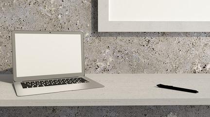 Computer portatile appoggiato su una scrivania in legno. Design e arredamento di interni stile moderno. Contemporaneo