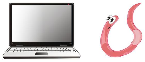 worm, earthworm, parasite, pest, illustration, pink, cartoon, laptop