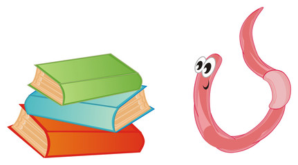 worm, earthworm, parasite, pest, illustration, pink, cartoon, many, books