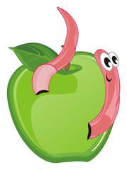 worm, earthworm, parasite, pest, illustration, pink, cartoon, apple, green, peek up