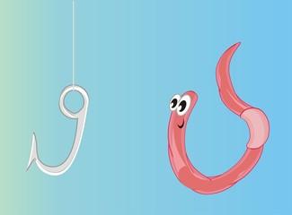 worm, earthworm, parasite, pest, illustration, pink, cartoon, water, hook
