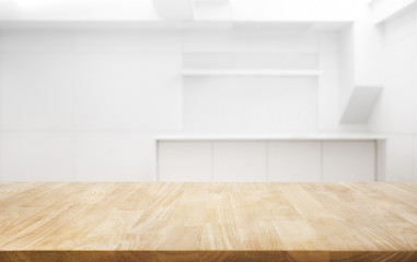 Wood table top on white room office background.For create product display or key visual layout Wall mural