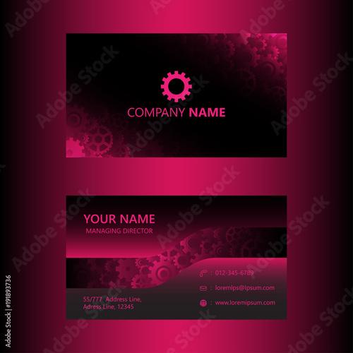 Dark pink business card template gears background engineer and dark pink business card template gears background engineer and mechanical concept visiting card vector wajeb Choice Image