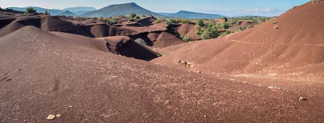 un panorama sur un paysage de dunes et de canyons de couleur ocre