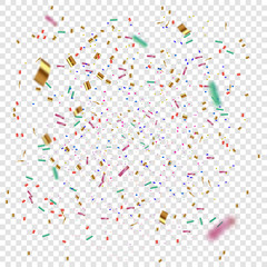 Golden and colorful Confetti on a transparent background. Vector illustration of flying confetti.