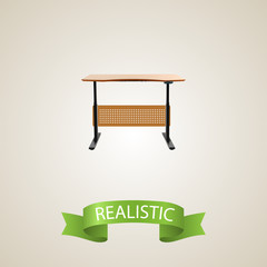 Desk realistic element. Vector illustration of desk realistic isolated on clean background for your web mobile app logo design.