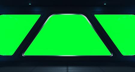Fototapete - Spaceship futuristic interior with window view