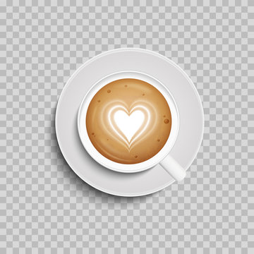 Coffee cup. Latte art heart shape. Vector. Isolated. Top view.