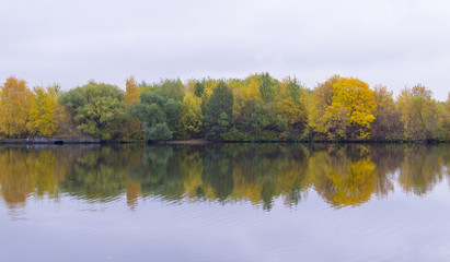 calm river at rainy autumn morning. background, nature.