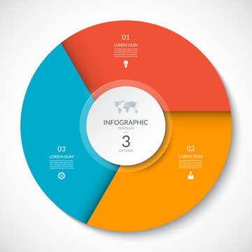 Circle chart for infographics. Vector diagram with 3 options. Can be used for graph, presentation, report, step options, web design.