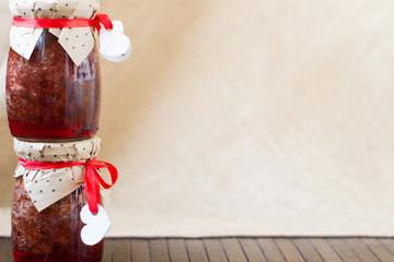 rustic homemade jam jar