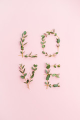 Word Love made of eucalyptus branches on pink background. Valentine's Day concept. Flat lay, top view.