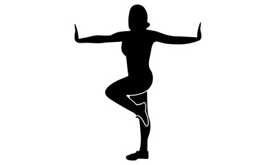vector silhouette of young women exercise balance