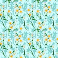 seamless pattern with spring flowers, blooming daffodils on blue background, vector illustration