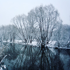 Snow covered trees mirrored in the river. Winter in Russia. Everything covered with snow. A snowy day in the park. Winter scene. Aged photo. Wide photo.