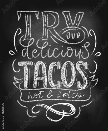 Tacos chalkboard poster