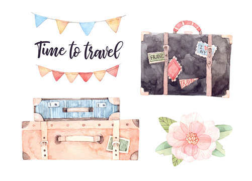Watercolor illustration - Let's go travel. Fashion suitcases with stickers, flower, Lettering, garland with flags. Trip to World. Perfect for invitations, greeting cards, prints, flyers, posters etc