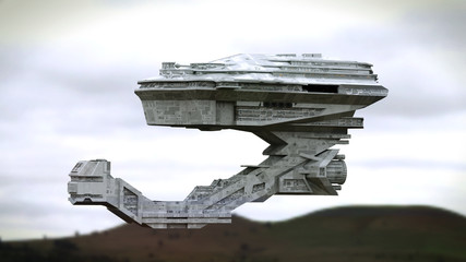 futuristic spaceship flying over a landscape (3d science fiction space illustration)