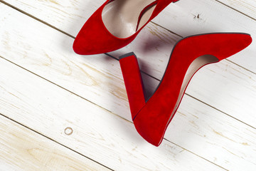 Red female shoes on high heels
