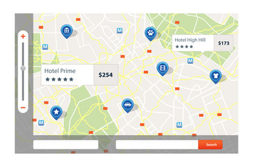 Infographic of city map navigation with pins