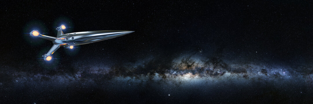 spaceship in front of the Milky Way galaxy