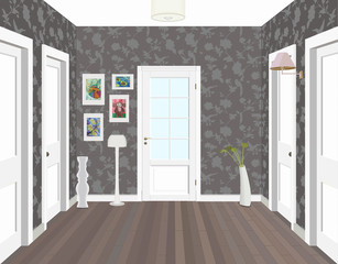Long corridor with rows of closed doors. Concept of infinite opportunities for success and toughness of choice. 3d rendering. Hallway illustration